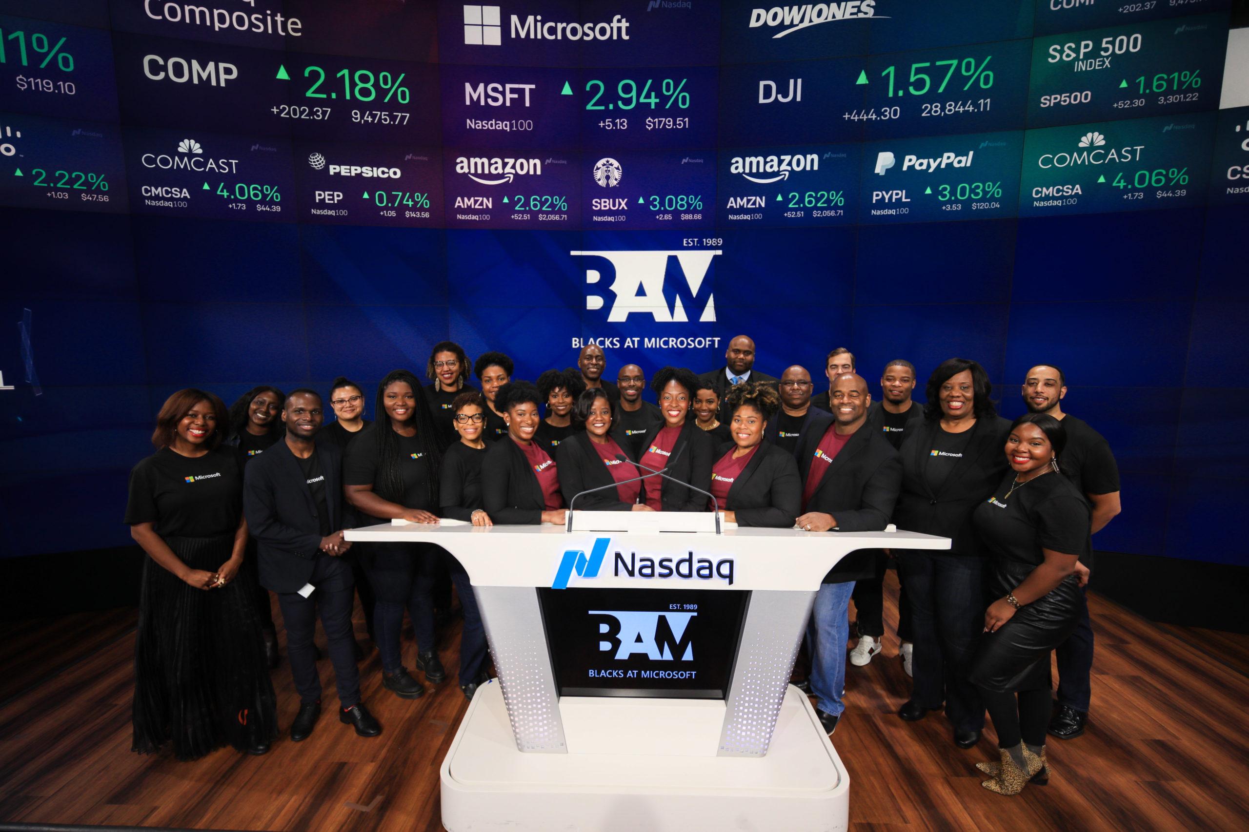 Blacks at Microsoft group shot at NASDAQ